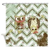 Owl chevron Shower Curtains