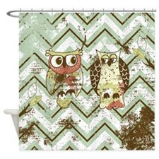 Distressed Chevron Owls Shower Curtain