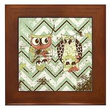 Distressed Chevron Owls Framed Tile