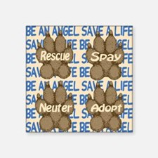 "beanangel_savealife_brownpa Square Sticker 3"" x 3"""