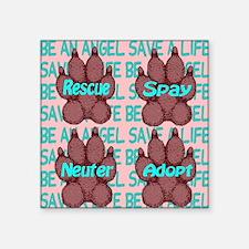 "beanangel_savealife_crimson Square Sticker 3"" x 3"""