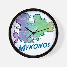 mykonos_t_shirt_map Wall Clock