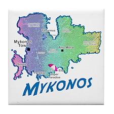 mykonos_t_shirt_map Tile Coaster