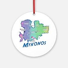 mykonos_t_shirt_map Round Ornament