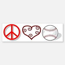 peacelovebaseball Bumper Bumper Sticker