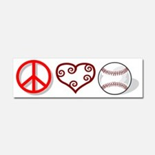 peacelovebaseball Car Magnet 10 x 3