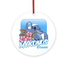 mykonos_t_shirt_paraportiani Round Ornament