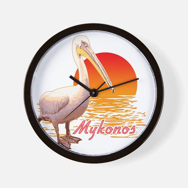 mykonos_pelican_t_shirt Wall Clock