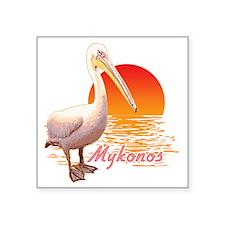 "mykonos_pelican_t_shirt Square Sticker 3"" x 3"""
