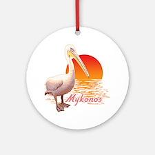 mykonos_pelican_t_shirt Round Ornament