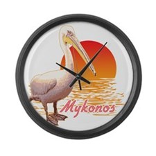 mykonos_pelican_t_shirt Large Wall Clock