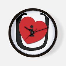 I Heart U Black Wall Clock
