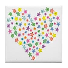Pop Art Multi Colored Heart Tile Coaster