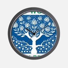 Smoking Tree Blue Wall Clock