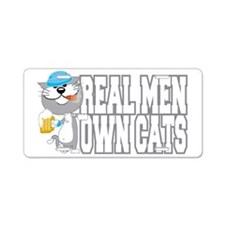 Real-Men-Own-Cats-blk Aluminum License Plate