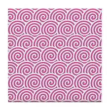 Pink Swirls Tile Coaster