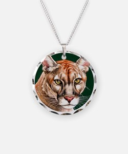 Panther Portrait Round Necklace Circle Charm