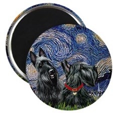 Starry Night (T) - 2 Scottish Terriers Magnet