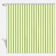 Green Candy Stripes Shower Curtain