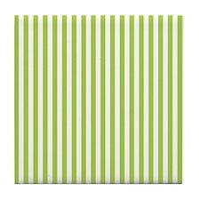 Green Candy Stripes Tile Coaster