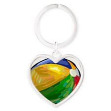 beach-ball Heart Keychain