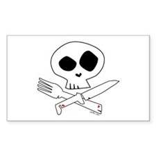 White Foodie Skull Rectangle Decal
