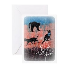 Cats On A Wire (In Winter) Greeting Cards