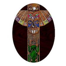TotemPoleArt-xb 9 x 12 edit Oval Ornament