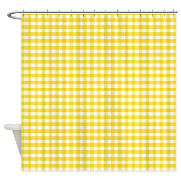 Yellow Checkered Rug: Yellow Gingham Pattern Shower Curtain By CutePrints