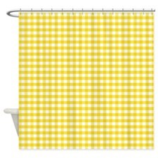 Yellow Gingham Pattern Shower Curtain