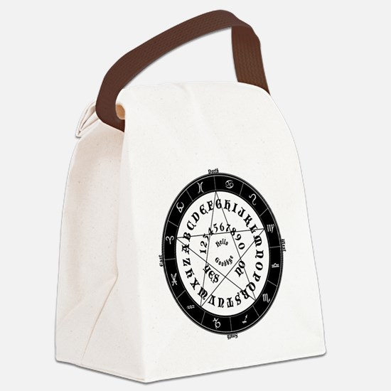Black on White Tee Roung Canvas Lunch Bag