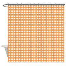 Orange Gingham Pattern Shower Curtain