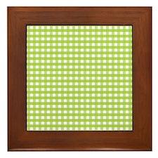 Green Gingham Pattern Framed Tile