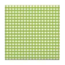 Green Gingham Pattern Tile Coaster