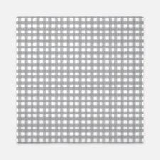 Grey Gingham Pattern Queen Duvet