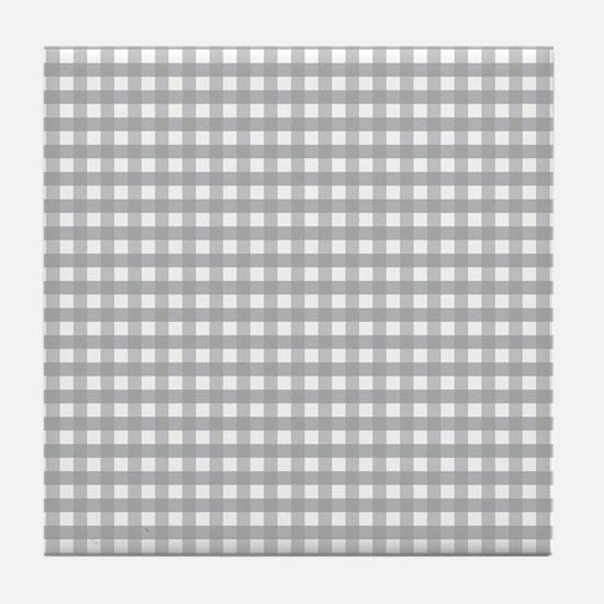 Grey Gingham Pattern Tile Coaster