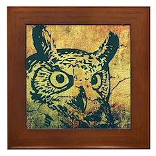 Rustic Grunge Owl Framed Tile