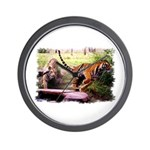 Asian Running Tigers Wild Animal Wall Clock
