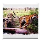 Asian Running Tigers Wild Animal Tile Coaster