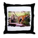 Asian Running Tigers Wild Animal Throw Pillow