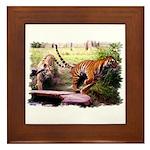 Asian Running Tigers Wild Animal Framed Tile