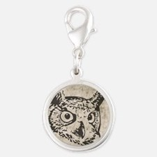 Rustic Grunge Owl Silver Round Charm