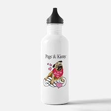 Pugs  Kisses Valentine Water Bottle
