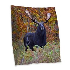 Big Bull Moose Burlap Throw Pillow