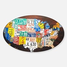 United States License Plate Map Decal
