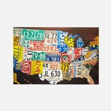 United States License Plate Map Rectangle Magnet
