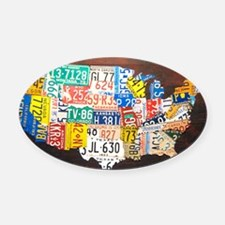United States License Plate Map Oval Car Magnet