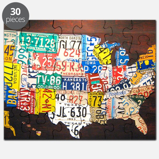 United States License Plate Map Puzzle