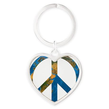 Peace on Earth Symbol Heart Keychain