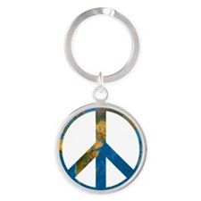 Peace on Earth Symbol Round Keychain
